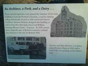 Story behind Roberts Park pillars