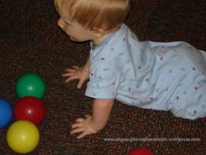 Even Little I has a ball