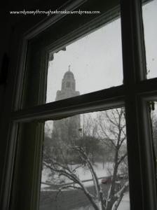 Window to Nebraska Capitol in December